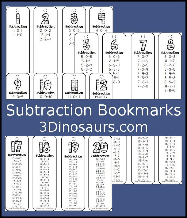 subtraction bookmarks free addition and subtraction math subtraction math addition math. Black Bedroom Furniture Sets. Home Design Ideas