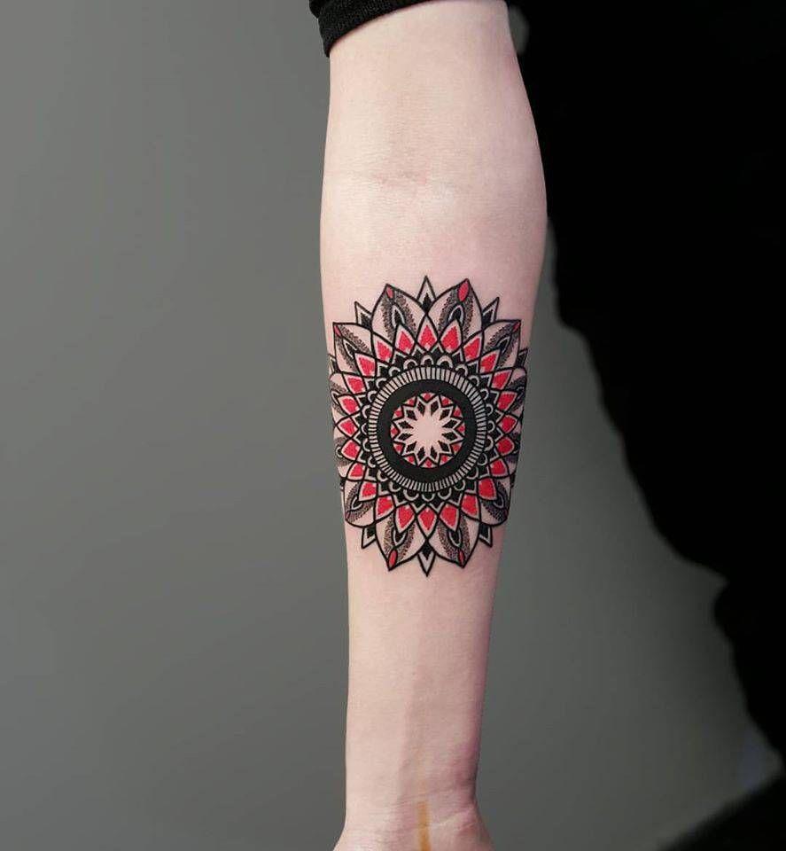 Inner Elbow Mandala Tattoo: Mandala Tattoo On The Right Inner Forearm.