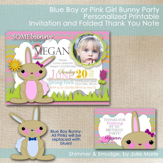 Blue Boy or Pink Girl Bunny Party, Personalized Printable Invitation and Folded Thank You Note on Etsy, $10.00