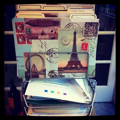 Suzy's French-themed file folders in her new desk organizer. I didn't know if I should put this great idea under travel or organization!