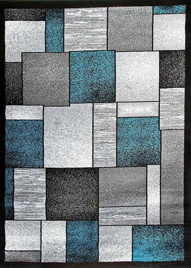 2094 Turquoise Square Contemporary Area Rugs | Clearance Rugs, Grey Rugs  And Turquoise
