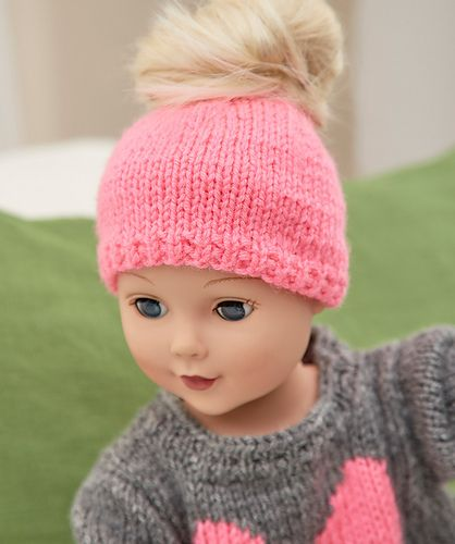 Love My Doll Messy Bun Hat pattern by Jodi Lewanda #dollhats
