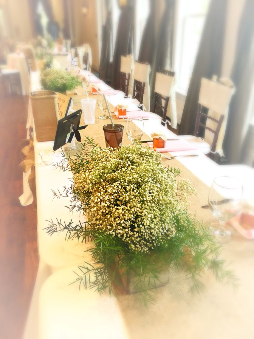 4ee885d3e8 Simple elegance with a white washed planter box arrangement of baby s breath  for the head table