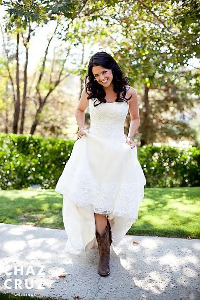 Wedding dress with a touch of country twang future mrs for Short wedding dress with cowboy boots
