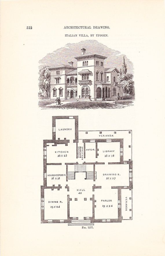 1886 Architecture Print House Blueprint Vintage By Holcroft, $12.00