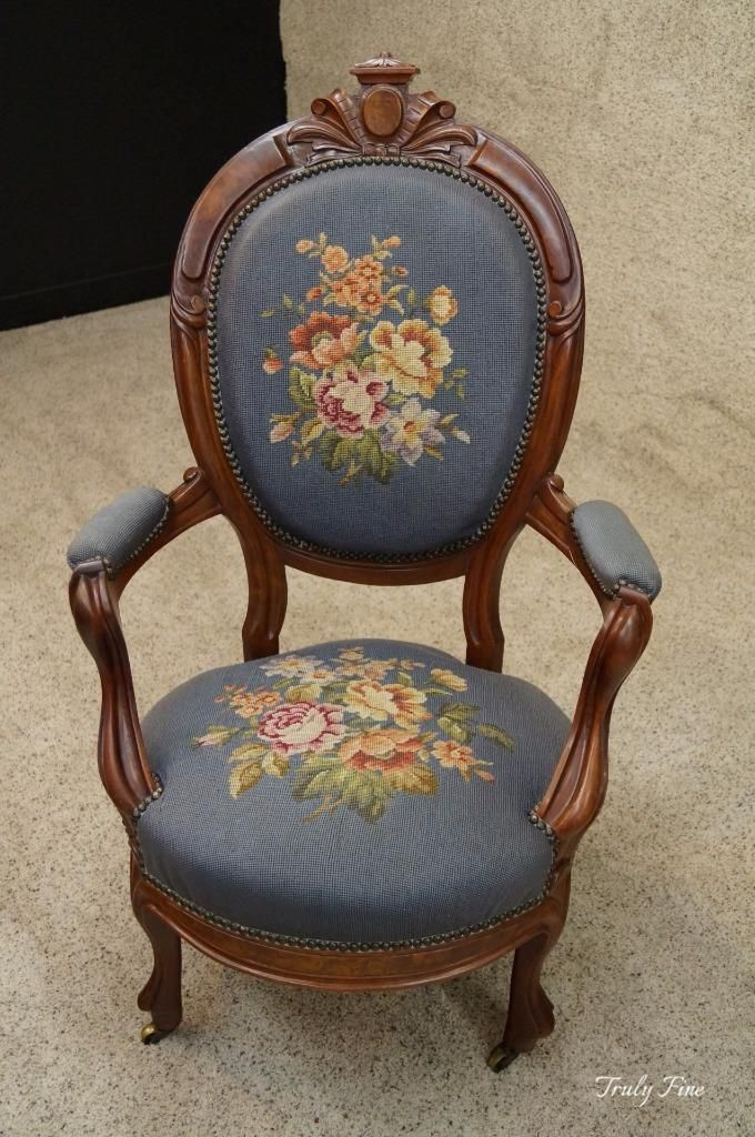 Cabriolet carved victorian antique boudoir slipper parlor chair needlepoint - Cabriolet Carved Victorian Antique Boudoir Slipper Parlor Chair