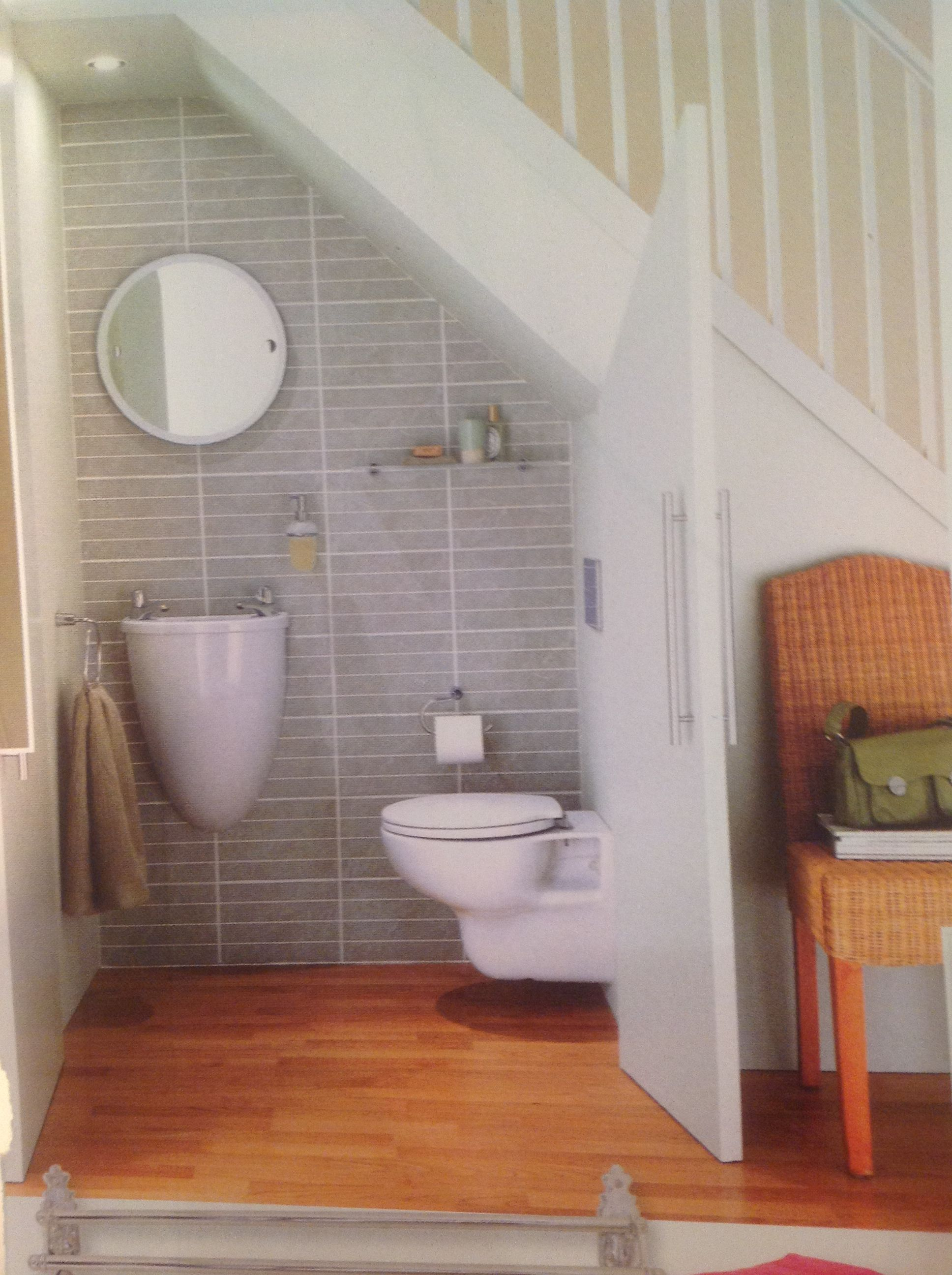 Downstairs cloakroom under the stairs great use of space for Downstairs bathroom ideas