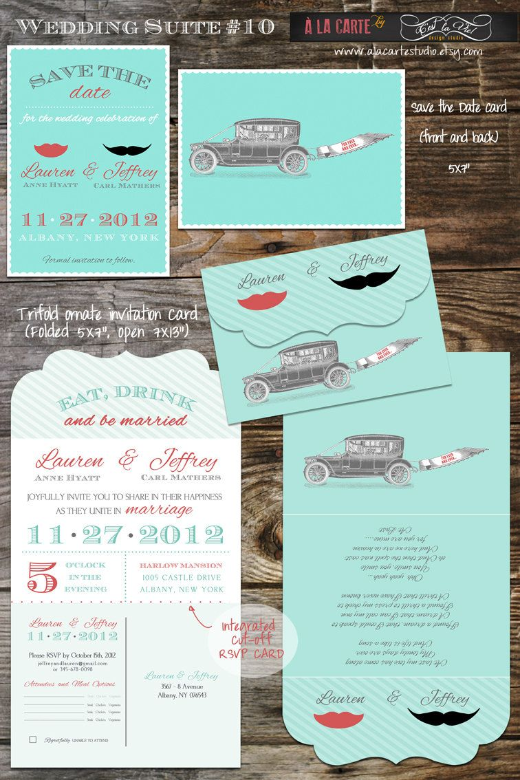 Tri Folded Ornate Vintage Moustache Lip Wedding Invitation Suite with Tear-of RSVP card - Save the Date and Thank you card Complete Suite. $49.00, via Etsy.