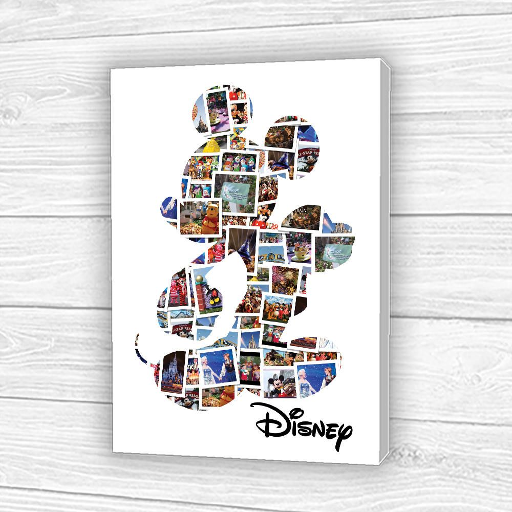 Disney Mickey Mouse Photo Collage Printed//Canvas