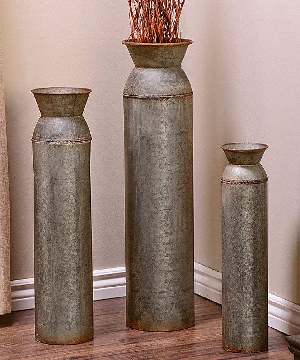 Look what i found on zulily rustic cylinder floor vase set by rustic cylinder floor vase set by giftcraft reviewsmspy