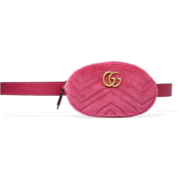 71dfd29d3d63 Gucci GG Marmont matelassé velvet and leather belt bag ($920) ❤ liked on  Polyvore featuring bags, pink, leather fanny pack belt, gucci bags, gucci,  waist ...