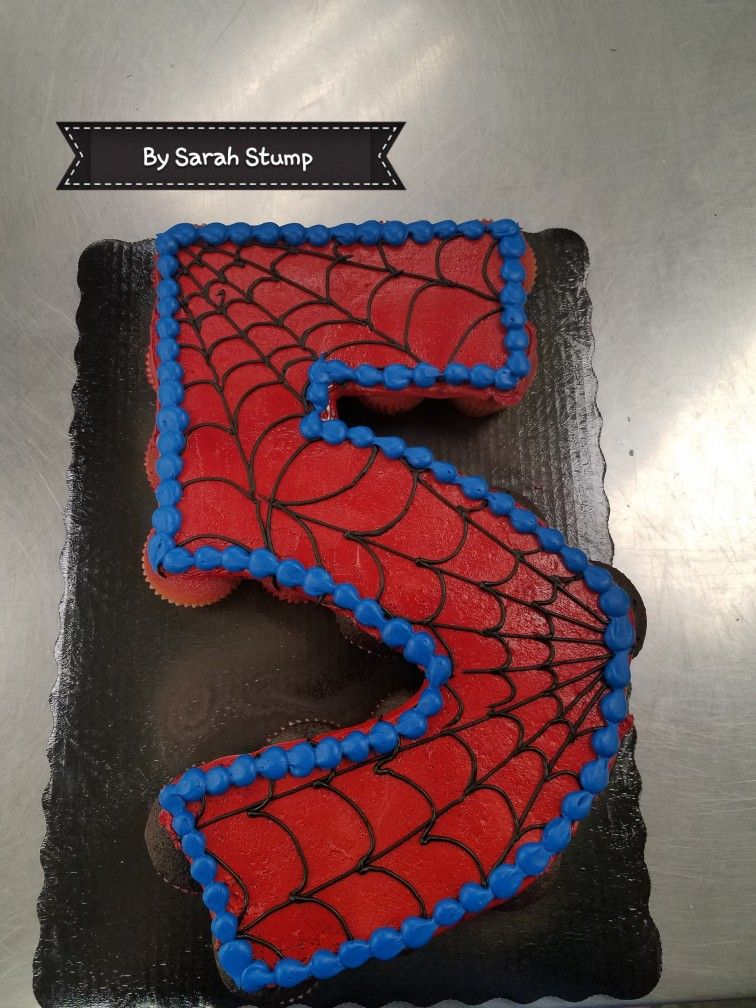 Spiderman Theme Pull Apart Cupcake Cake Buttercream By