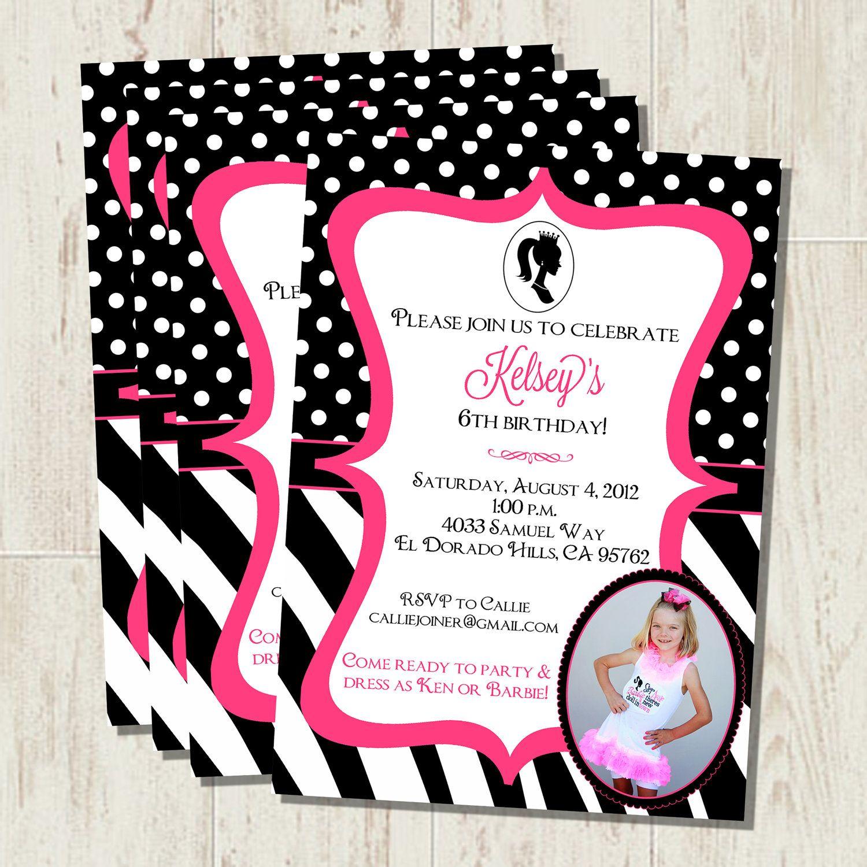 Duel Birthday Decor Zebra Barbie And Princess Themes: 5x7 Barbie Themed Birthday Invitation On Etsy