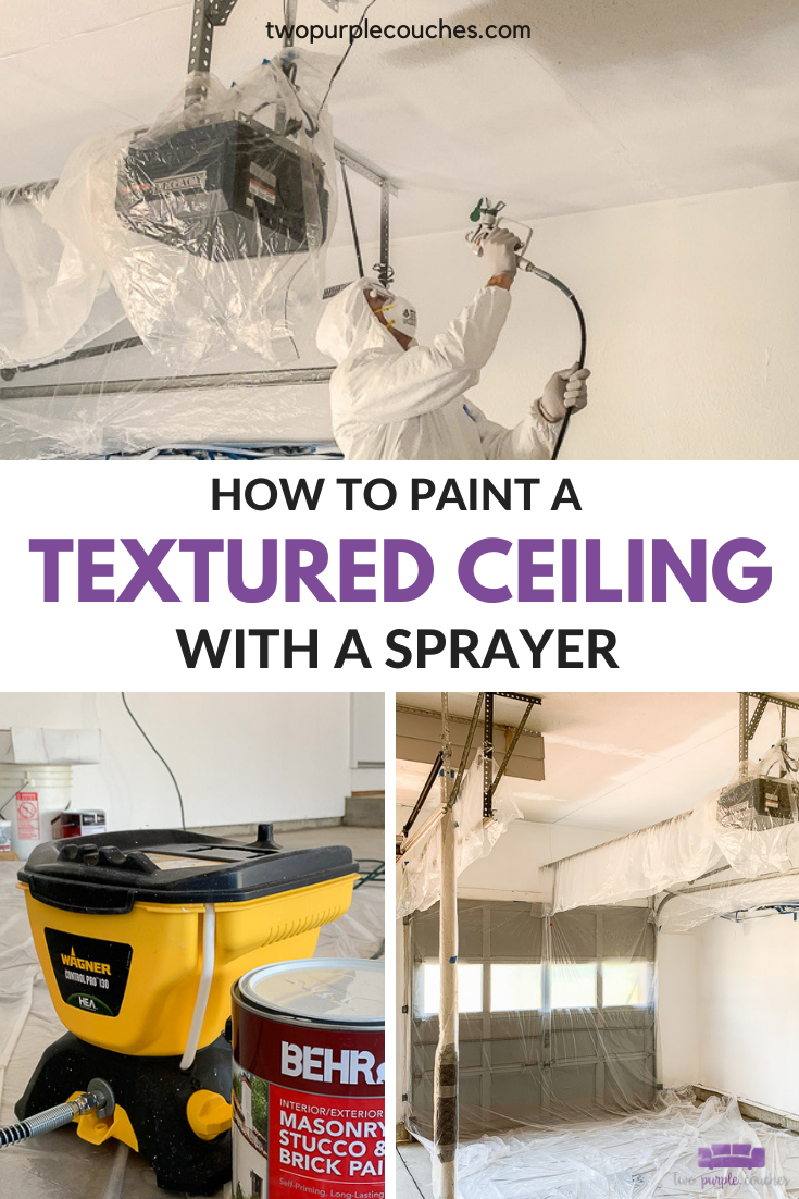 Paint A Textured Ceiling With A Paint Sprayer Two Purple Couches Ceiling Texture Paint Sprayer Diy Paint Projects