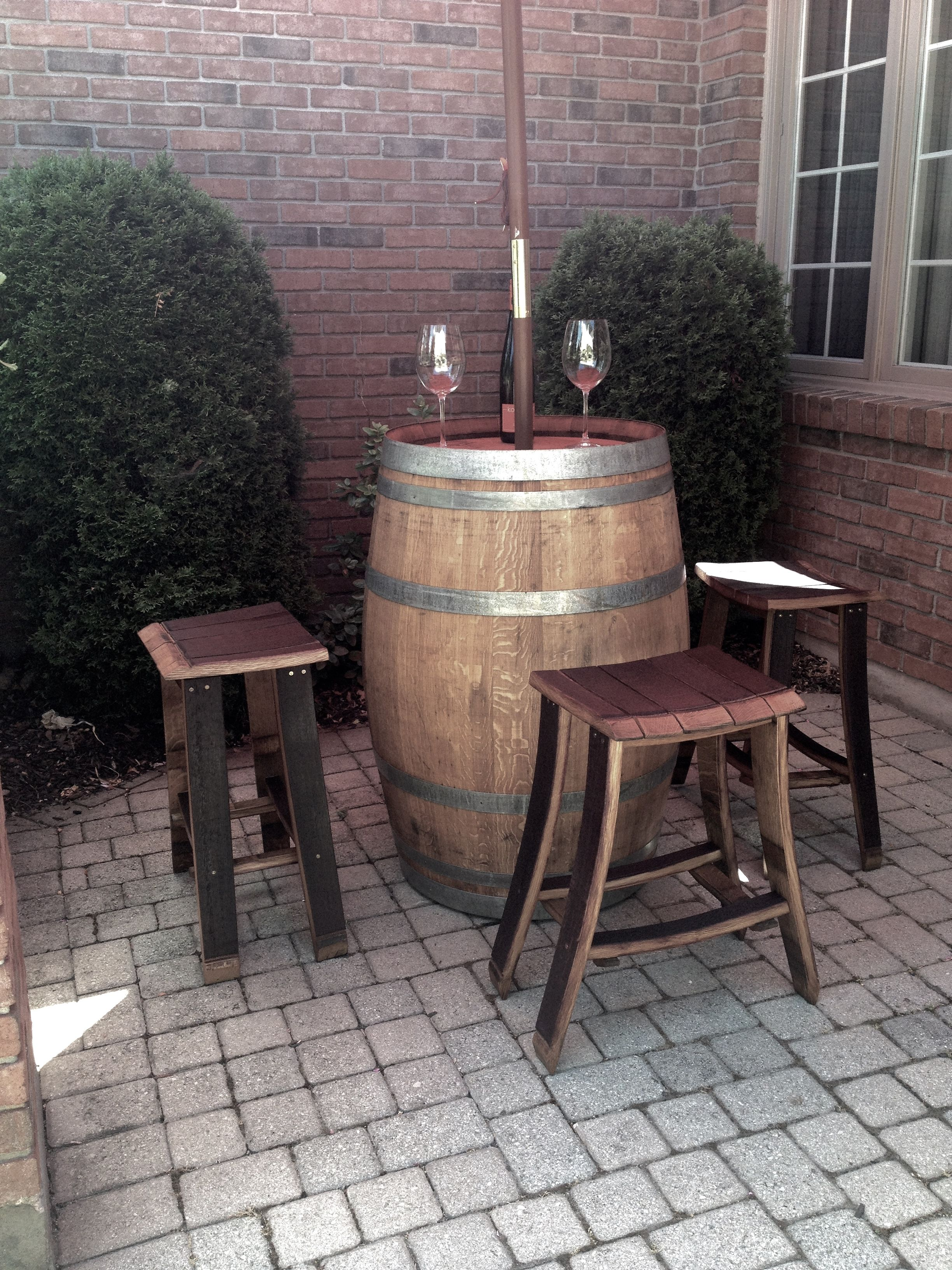 Wine Barrel Bar Table With Stools By Backyard Company 799 Furniture