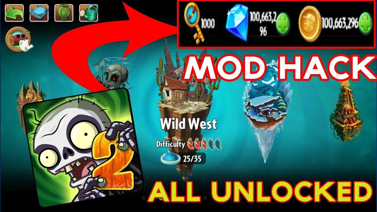 Plants Vs Zombies 2 Mod Hack 6 4 1 Unlimited Coins Gems Plants Vs Zombies Zombie 2 Zombie