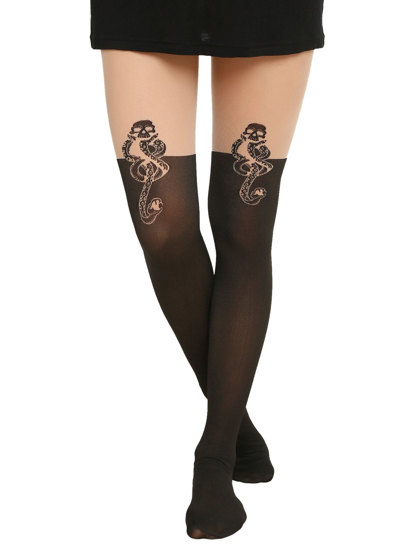 Harry potter death eater faux thigh high tights harry potter death a pair of tights from harry potter with a dark mark symbol faux thigh high design biocorpaavc Images