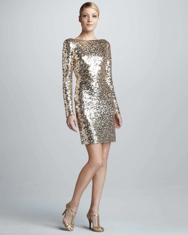 988a7faee5ba Badgley Mischka Sequined Scoop-Back Long-Sleeve Cocktail Dress - Neiman  Marcus