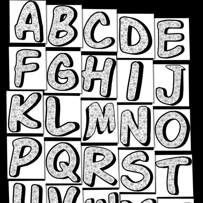 Coloring Alphabet Printable Worksheets For Kids Preschool | Etsy