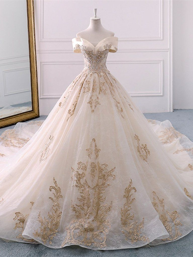 Appliques Ball Gown Cathedral Off-The-Shoulder Church Wedding Dress #churchoutfitfall