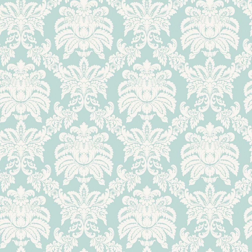 The Wallpaper Company 56 Sq Ft Blue Pastel Sweeping Damask