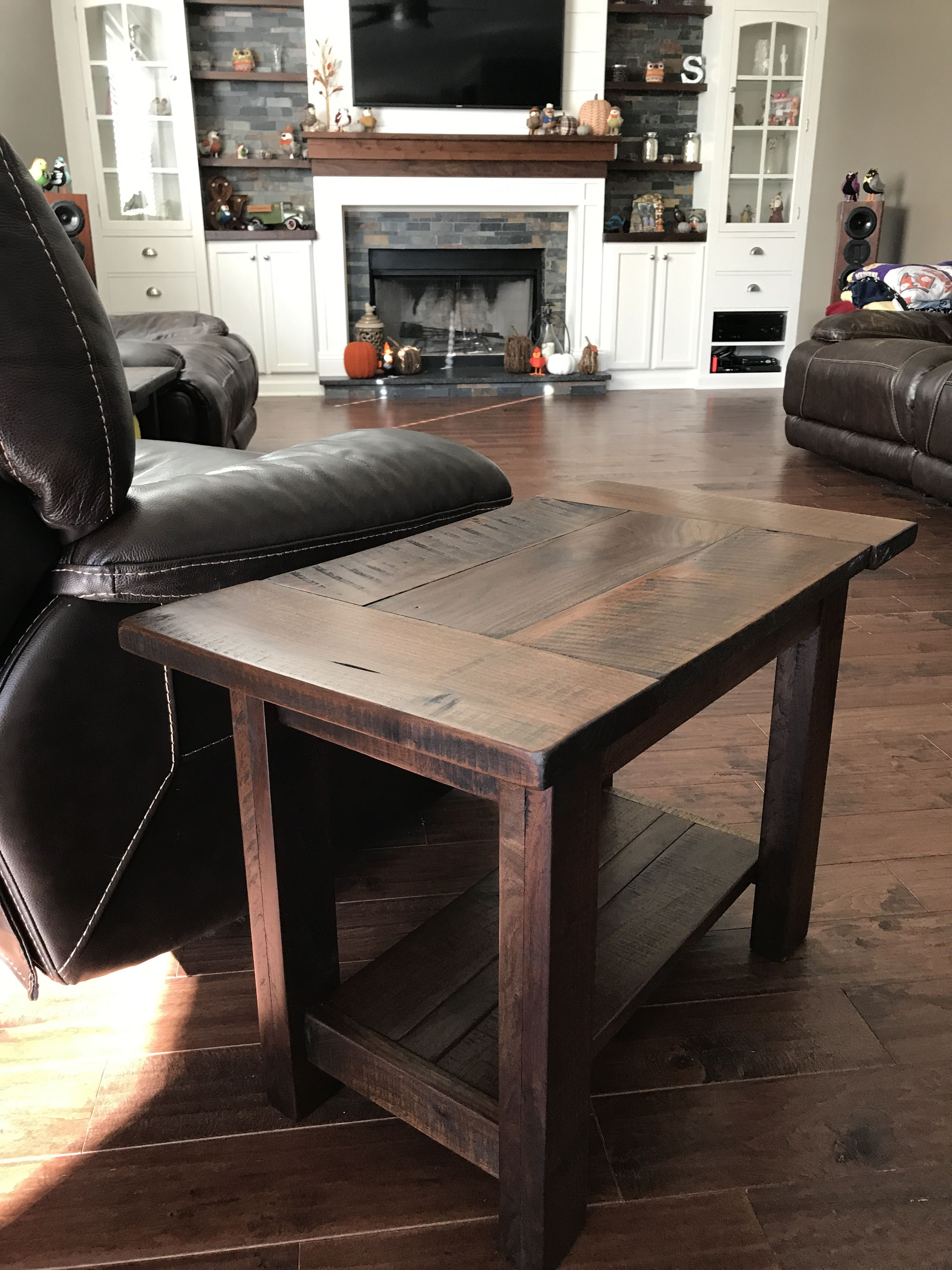 Rustic solid walnut end table Rustic end tables, Diy end