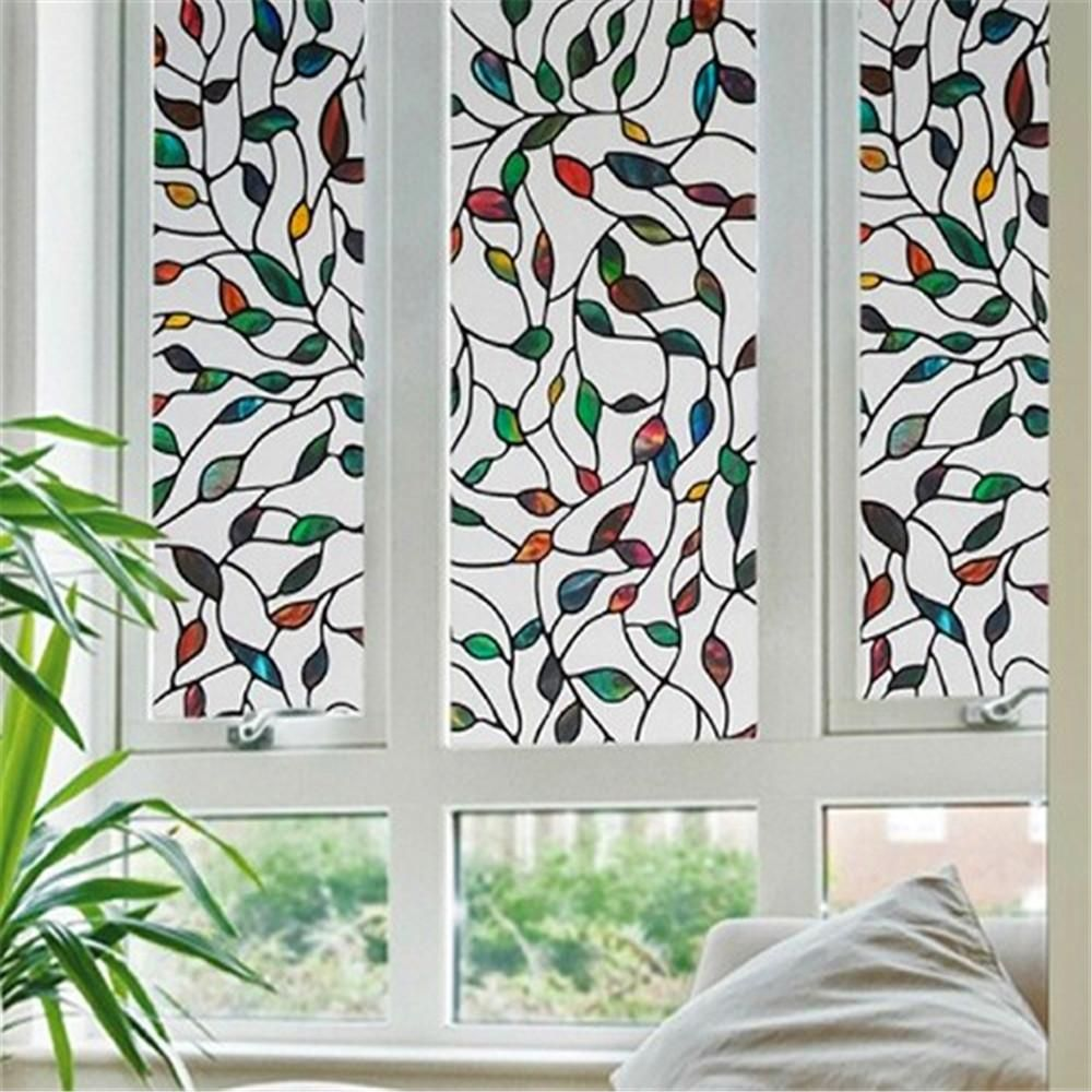 Decorative Static Cling Frosted Privacy Window Film Screen Sticker Stained Glass