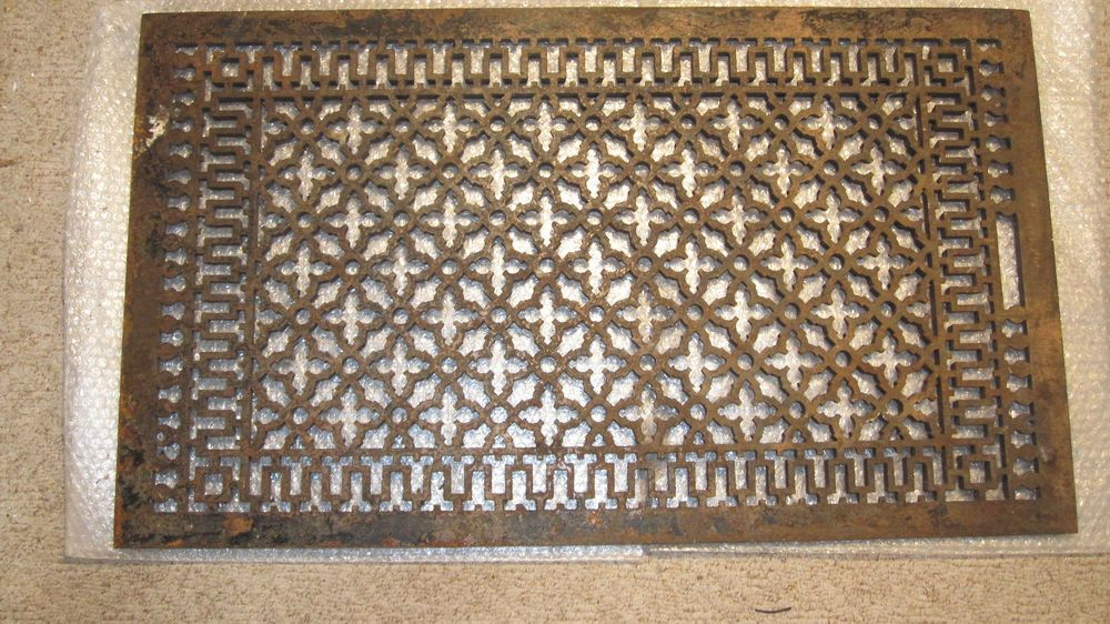 Antique Large Cast Iron Grate Heating Vent Cold Air