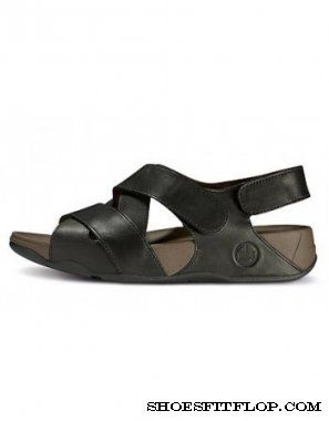 FitFlop Leather Lexx Black Men Slippers