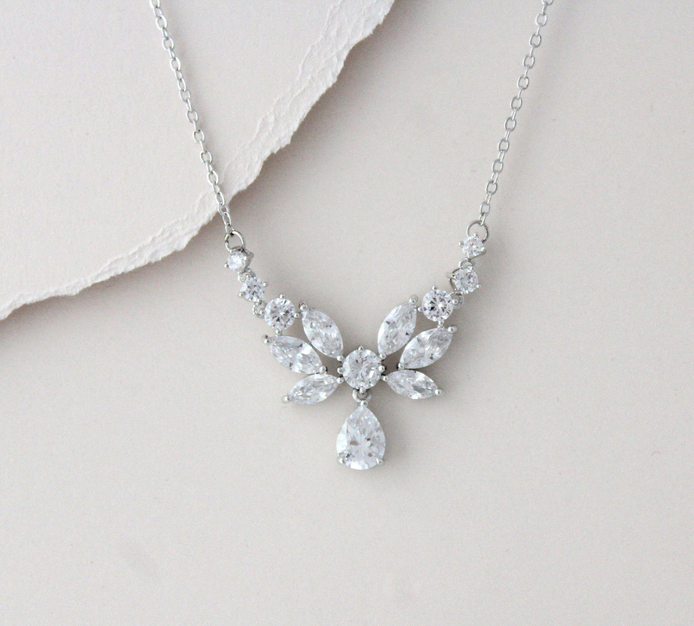 Simple Bridal Necklace Bridal Rhinestone Necklace Dainty Etsy Simple Bridal Necklace Pearl Bridal Jewelry Gold Bridal Necklace