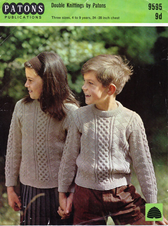 childrens aran sweater knitting pattern pdf cable sweater crew neck ...