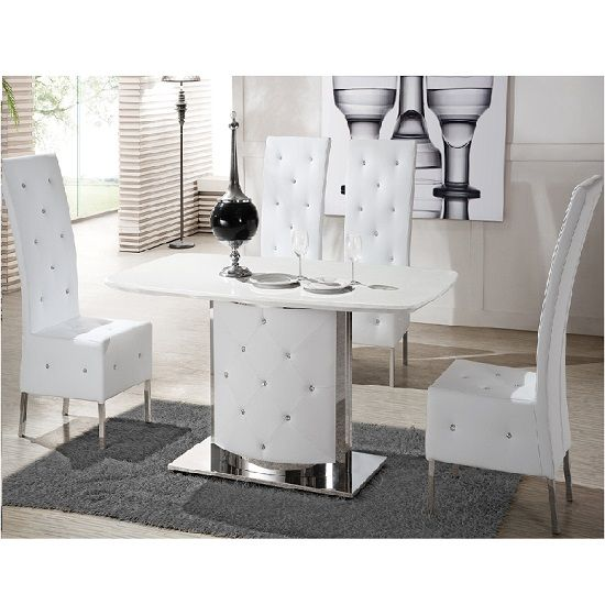Marina Frosted Extendable Dining Table With 4 Dining Chairs | 4 Seater  Glass Dining Sets | Pinterest | Dinner Room, Extendable Dining Table And  Chrome ...