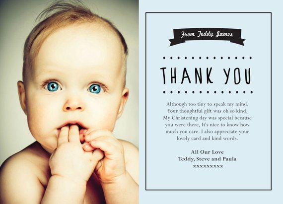 Baby Thank You Cards Personalised Photo Thank You Birthday With Envelopes 10 Cards Baby Thank You Cards Baptism Gifts For Boys Christening Thank You Cards