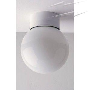 Globe Flush Ceiling Light, A 10cm Diameter Small Globe Bathroom Ceiling Lamp  IP44