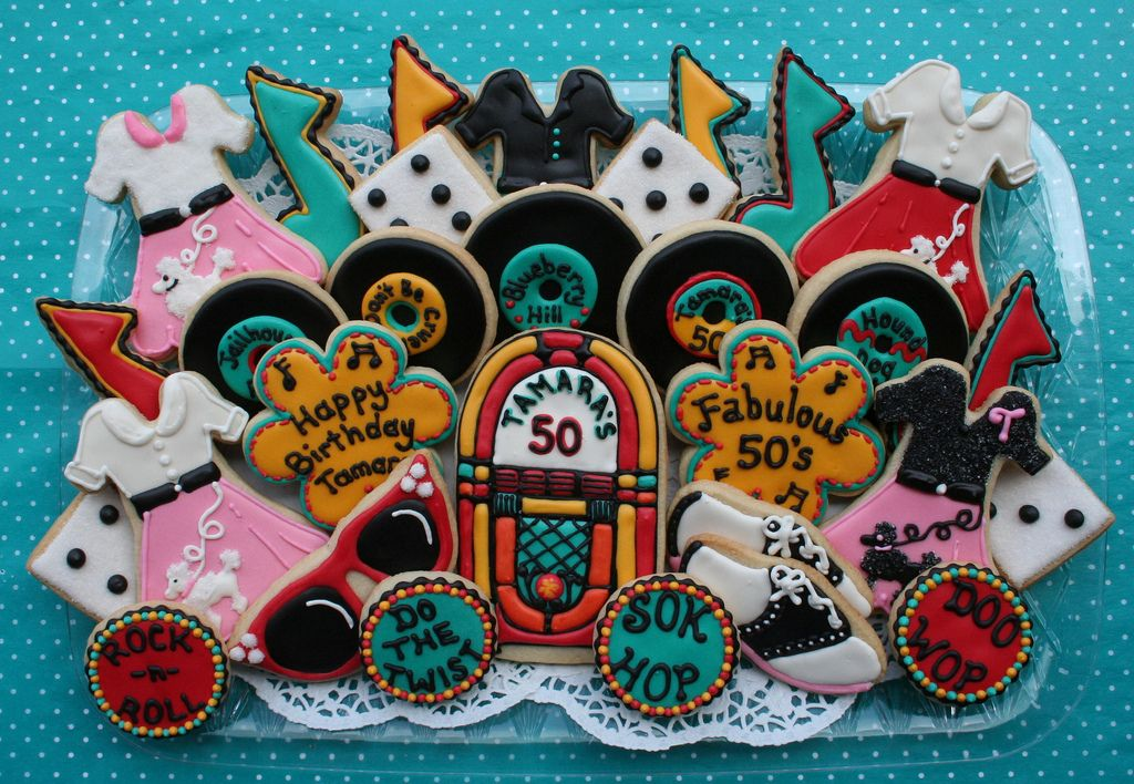 50th Birthday Party Cookie Favor 50s Theme Party