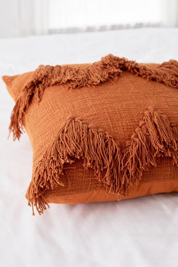 Sadie Fringe Throw Pillow With Images Orange Throw Pillows Throw Pillows Bedroom Burnt Orange Throw Pillows