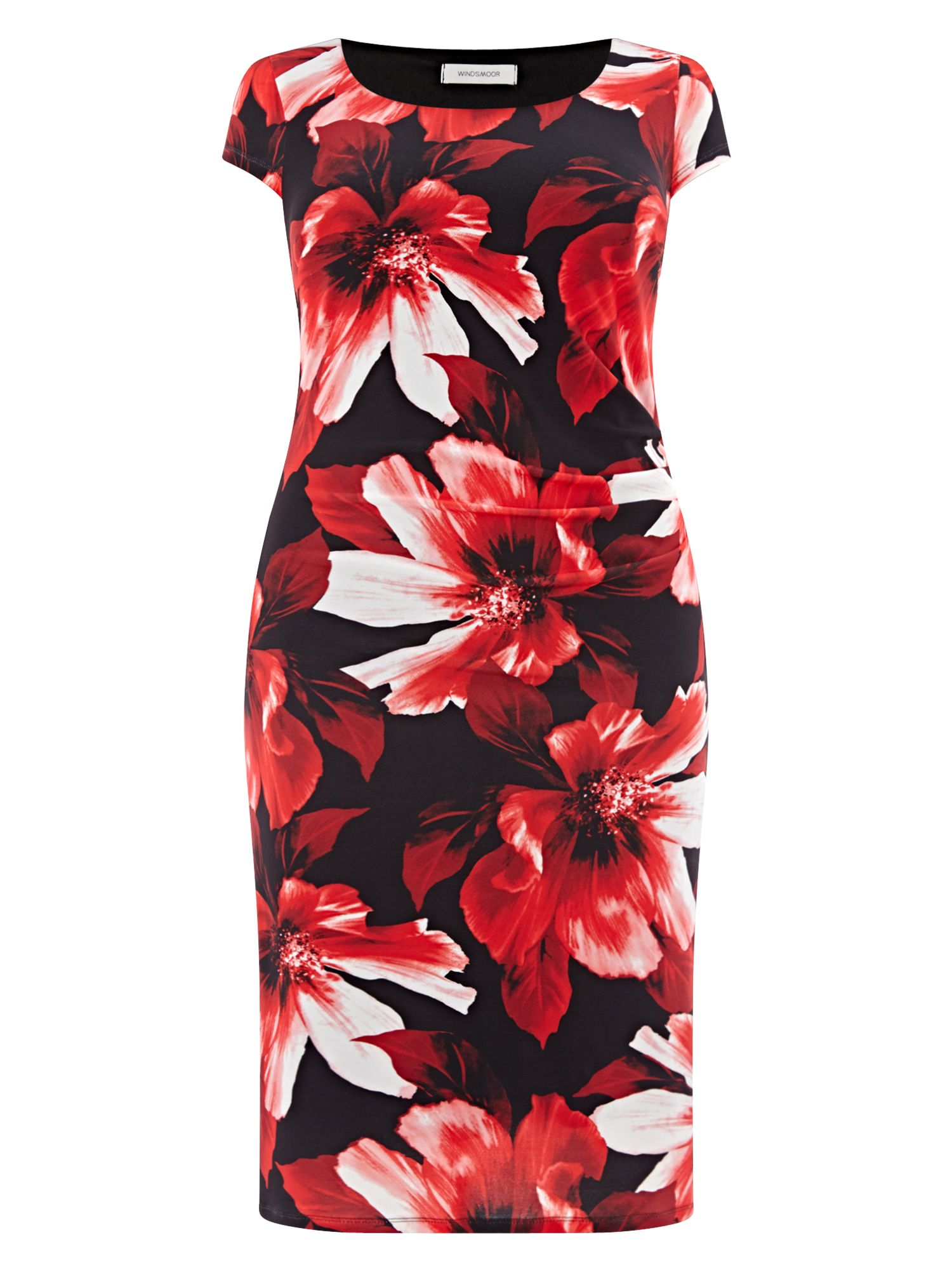 Add some femininity to your wardrobe this season with this lovely printed shift dress. Boasting a statement floral design in vibrant red, this dress also features gathers on the side and cap sleeves for a flattering finish. http://tidd.ly/edfcc801