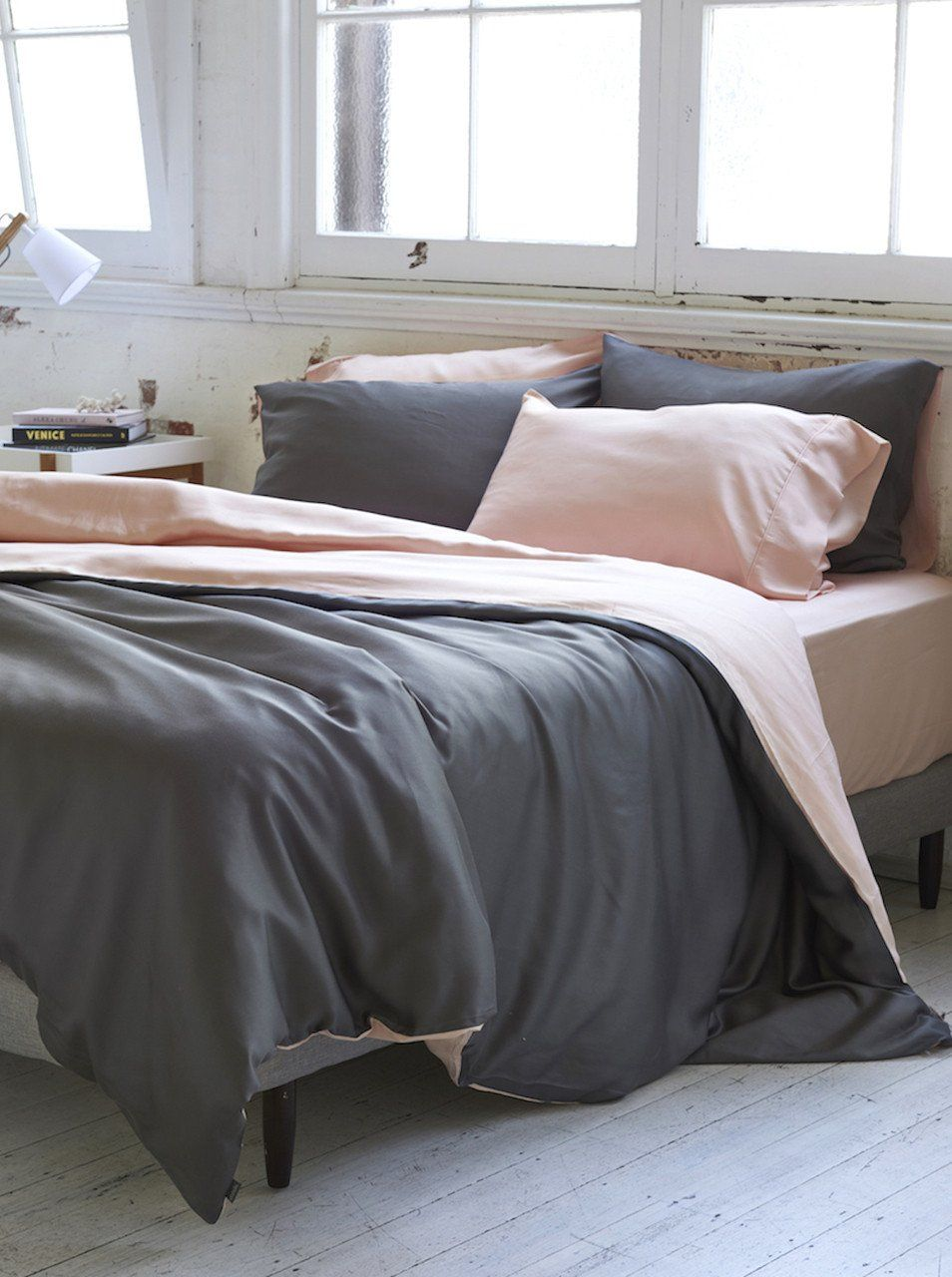 Rest Easy With This Reversible Soft Pink And Grey Duvet Set Made With 100 Organic Bamboo Lyocell These Are Great Bed Linens Luxury Bedding Brands Bed Sheets