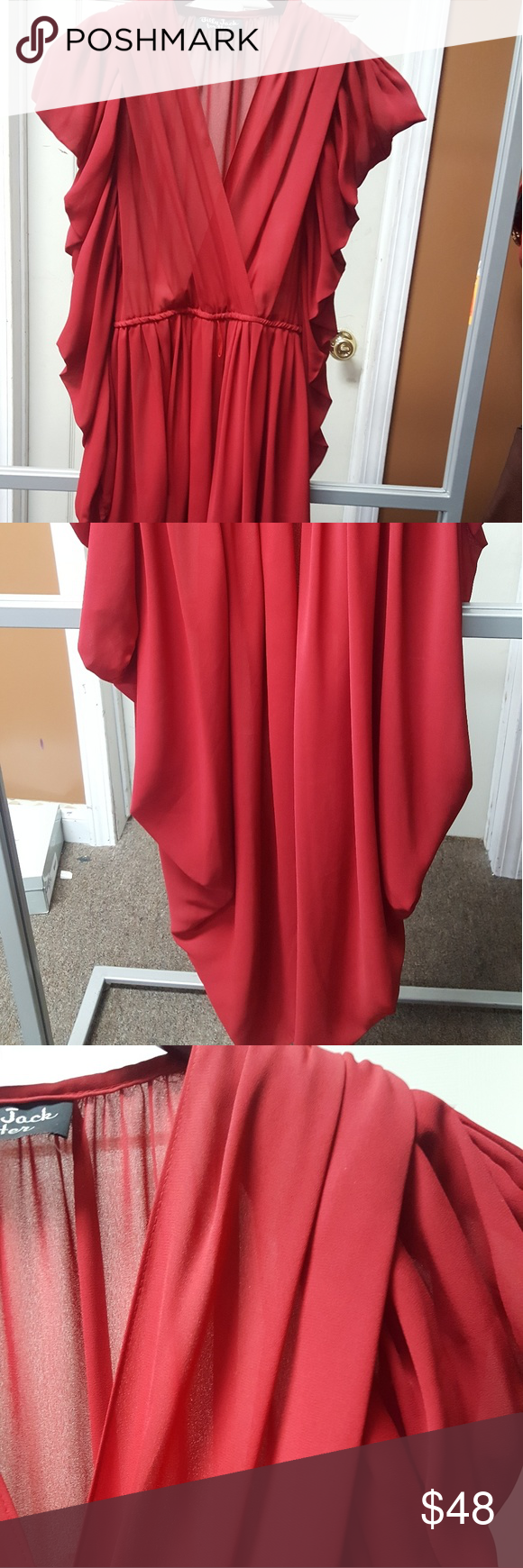 Vintage red carpet billy jack chiffon gown with be Red vintage chiffon gown with belt. billy jack Dresses Midi