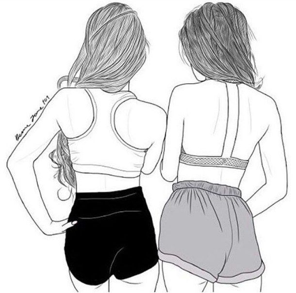 Best Friend Draw Drawing Girls Outline