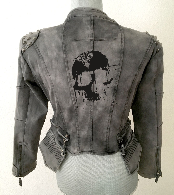 Black Denim Jacket, Black Jacket, Vintage Jacket, Skull