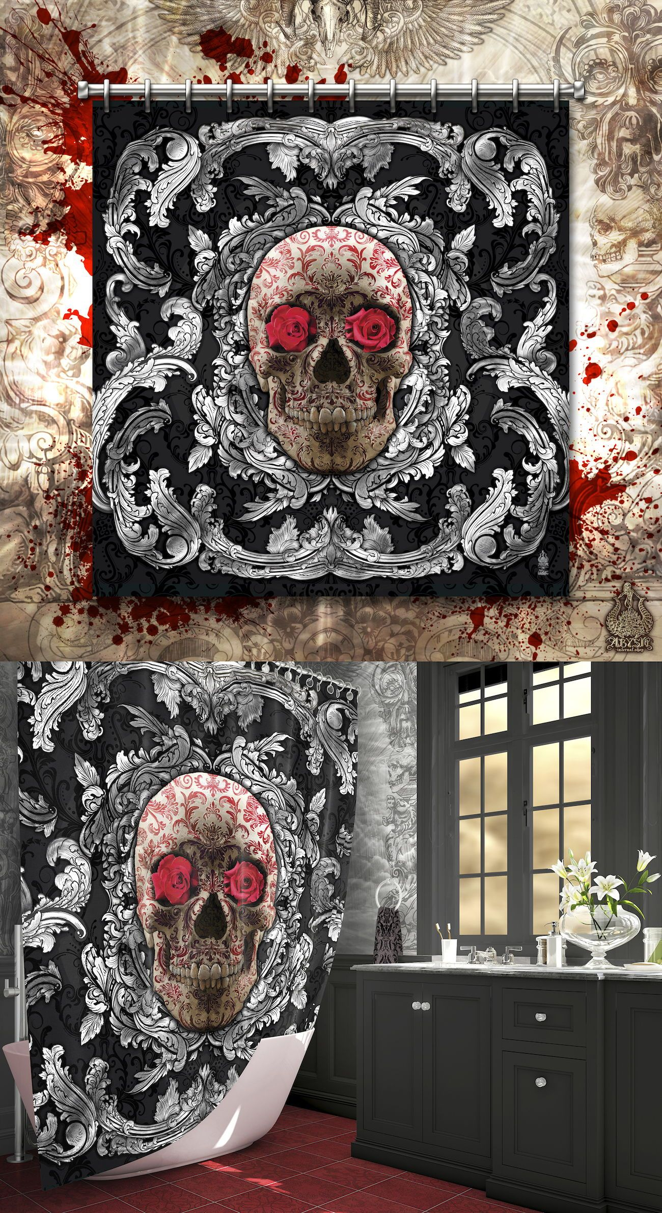 Skull Shower Curtain Goth Home Decor Silver With Red Tattoo