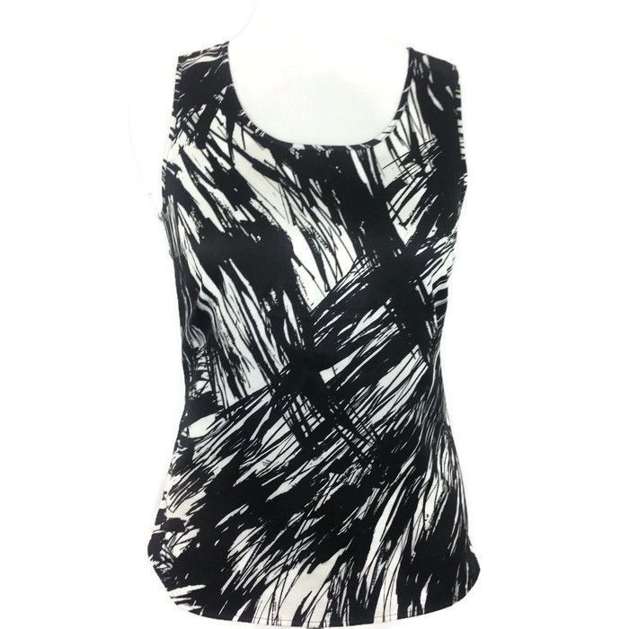 ANN TAYLOR Women's Sleeveless Shell Top Black White Abstract Casual Career Sz. M #AnnTaylor #ShellBlouse #CasualCareer