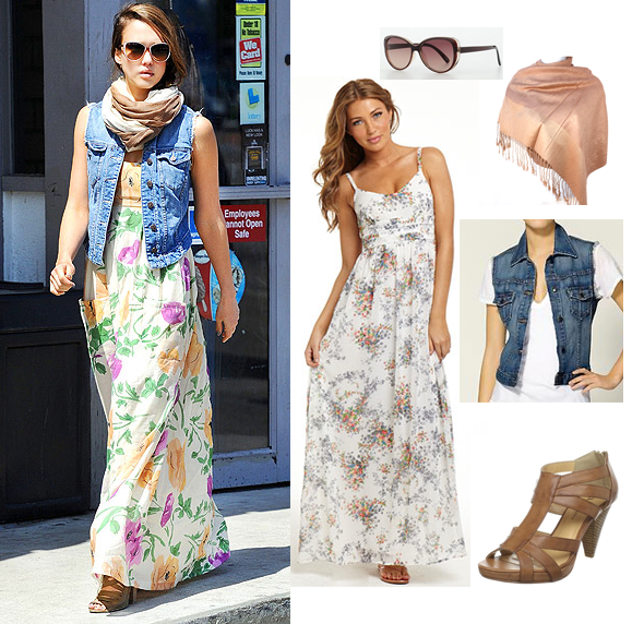 Jessica Alba Celebrity Look for Less - Maxi Dress and Sleeveless Jean Jacket