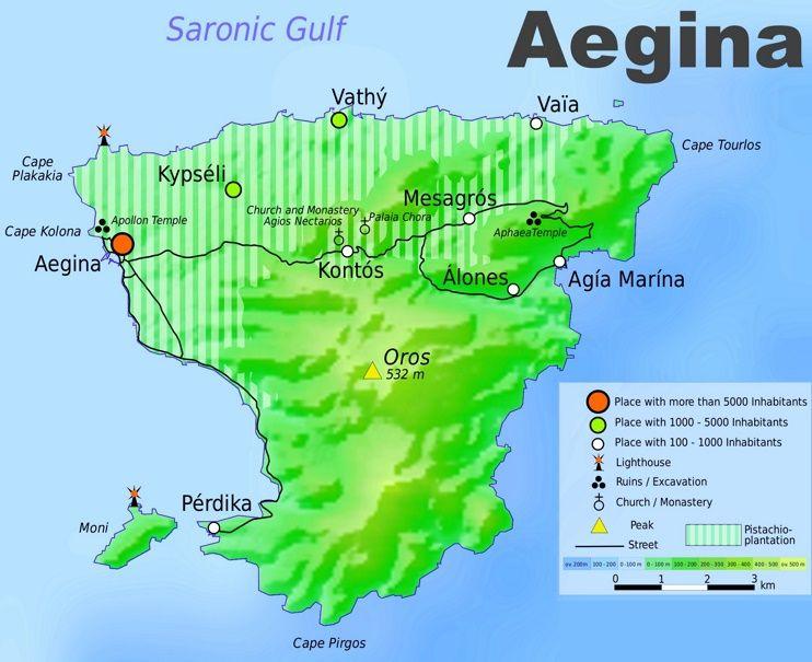 Aegina tourist map Maps Pinterest Tourist map and Greece islands