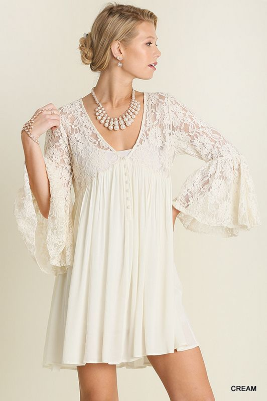 210fa971b249 A2099 UMGEE Bohemian Cowgirl V Neck Peasant Dress with Lace Sleeves Cream -  bootjunky.com