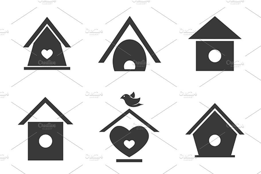 Vector Group Of Bird Houses In 2020 Tree House Drawing Decorative Bird Houses Bird Houses