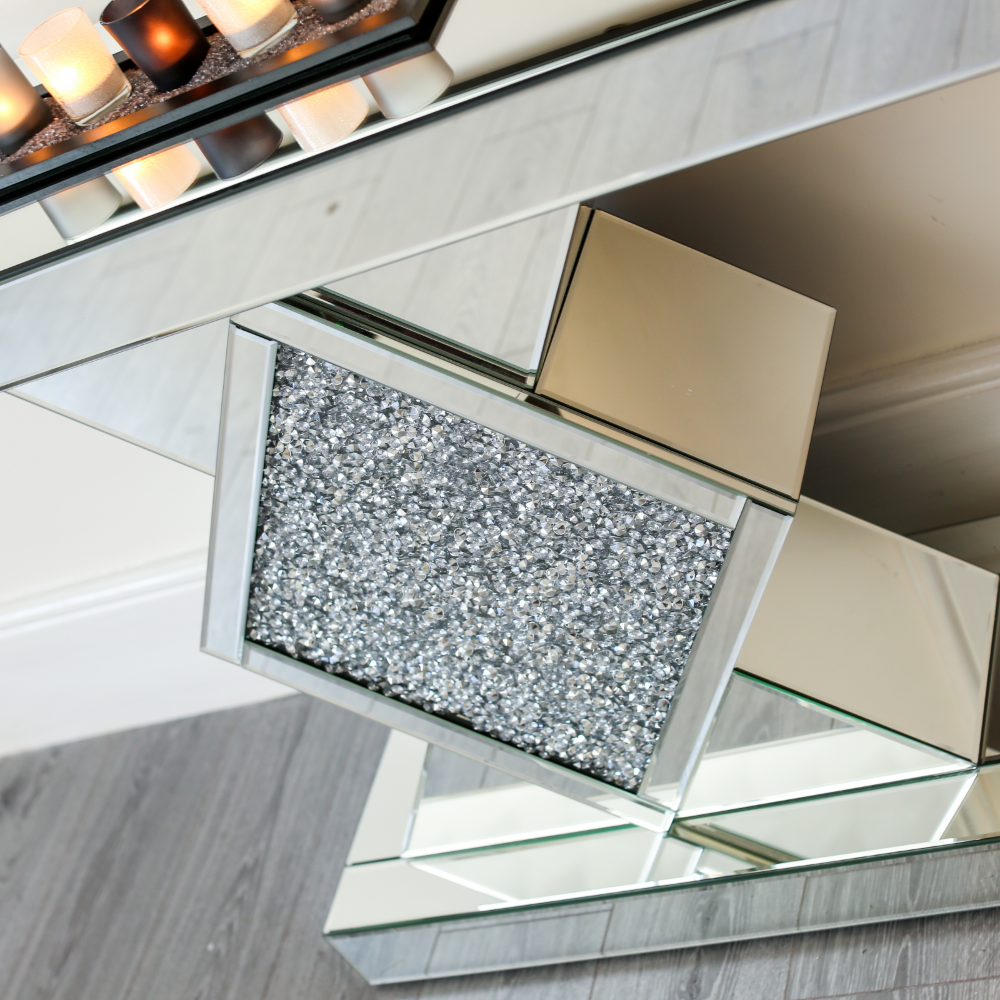 Crushed Diamond Mirror Coffee Table Sideboard Cabinet Glass Bedside Tv Stand Ebay Coffee Table And Sideboard Mirrored Coffee Tables Cabinet Glass [ 1000 x 1000 Pixel ]
