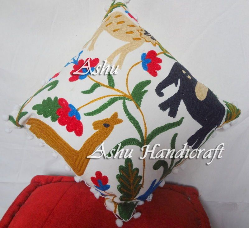 16'' Indian Cotton Embroidery Suzani Design Pom Pom Decor Cushion Pillow Cover 9 #AshuHandicraft #Ethnic