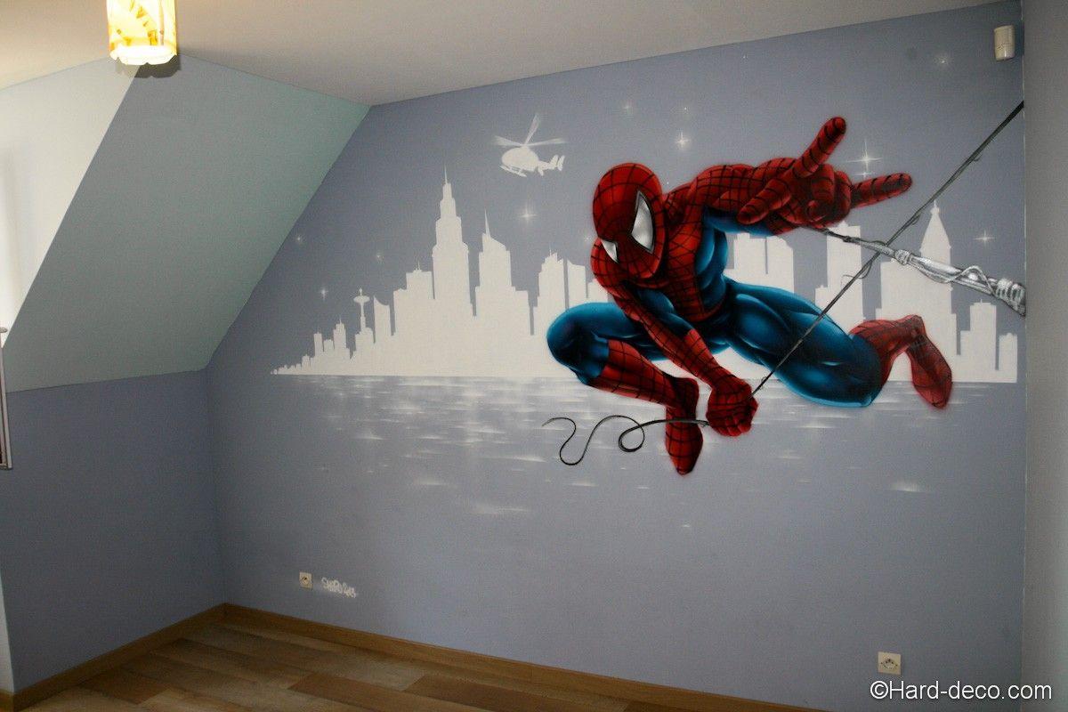 Décor mural Spiderman - Hard Deco  Deco chambre garcon, Idee deco